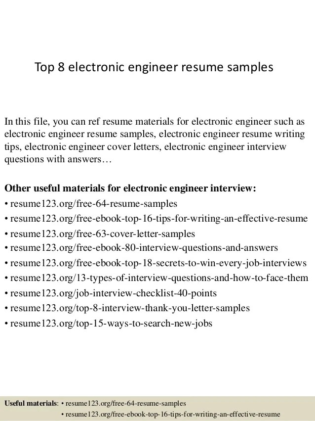 skills in resume for electronics engineer - E-resume Examples