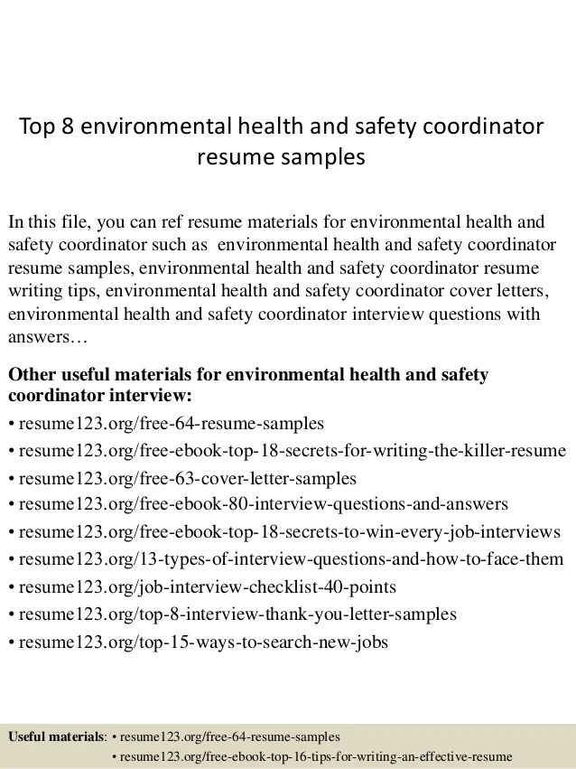 Top 8 Environmental Health And Safety Coordinator Resume