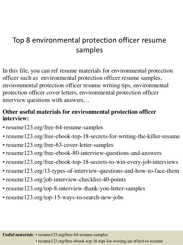 Top 8 Environmental Protection Officer Resume Samples