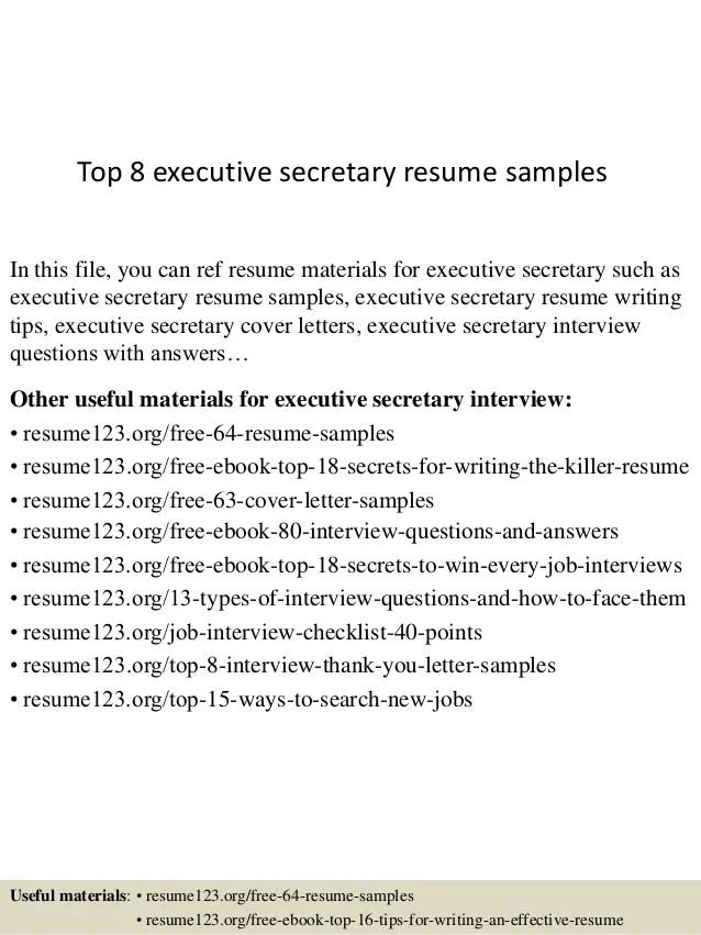 Top 8 Executive Secretary Resume Samples 1 638 ?cbu003d1429945316  Executive Secretary Resume