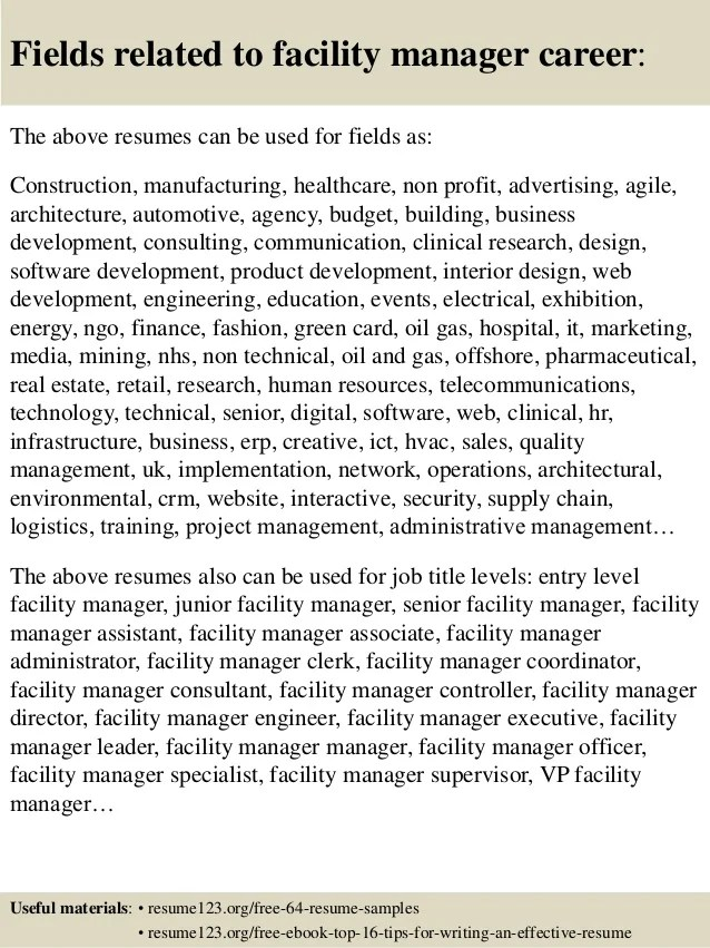 Top 8 facility manager resume samples