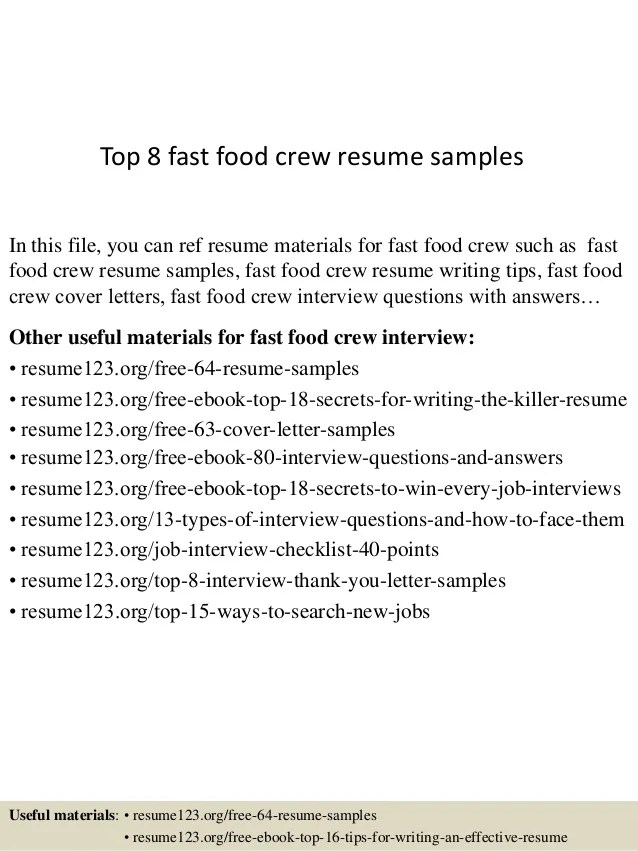 Top 8 Fast Food Crew Resume Samples 1 638 ?cb=1432889002