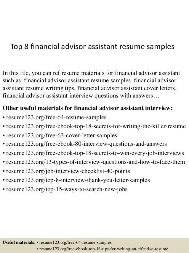 Investment Advisor Assistant Cover Letter