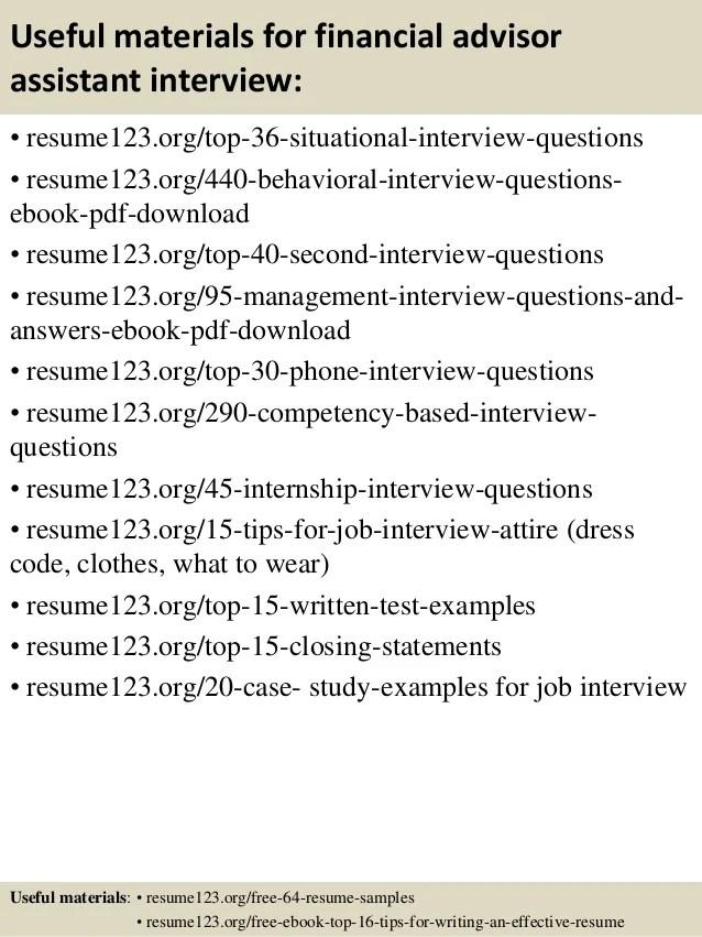 Top 8 financial advisor assistant resume samples