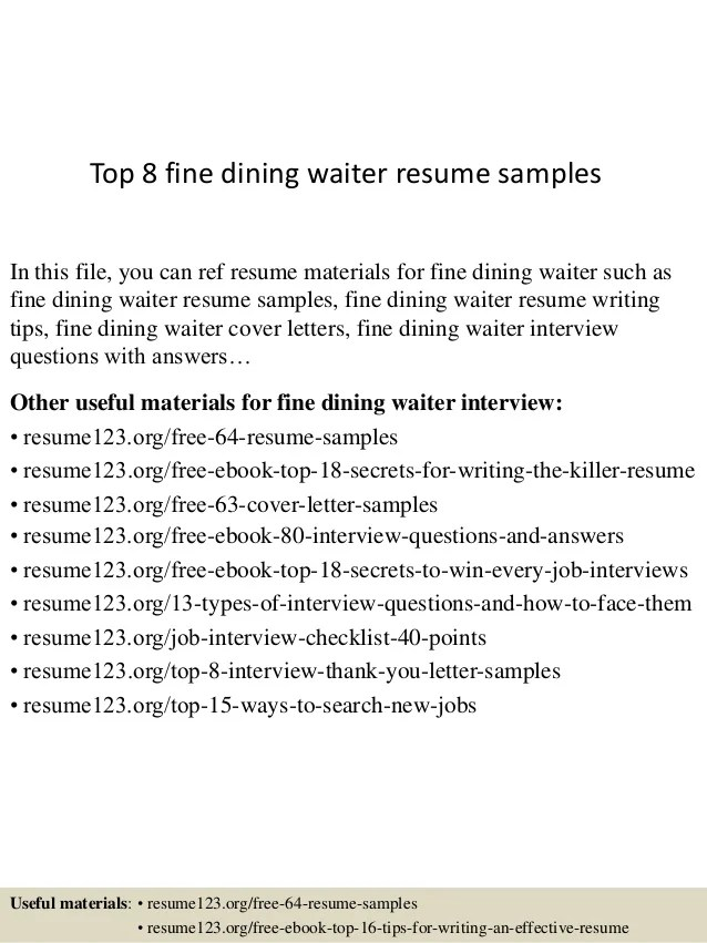 Fine Dining Server Resumes  Template