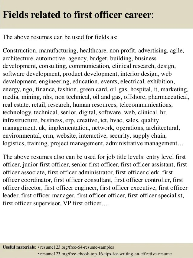 First Officer Sample Resume Example Of First Resume Download How