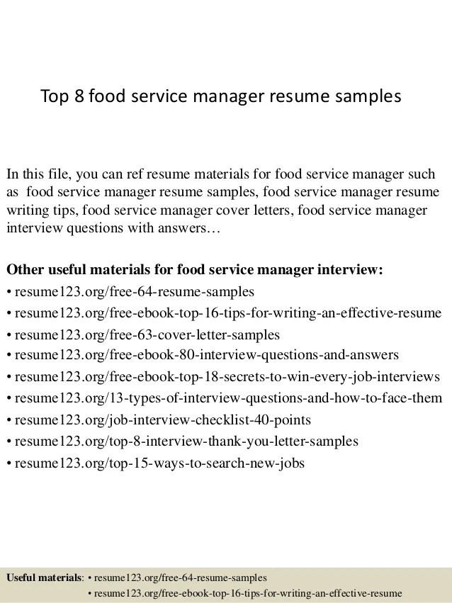 resume objective for food service food service manager resume
