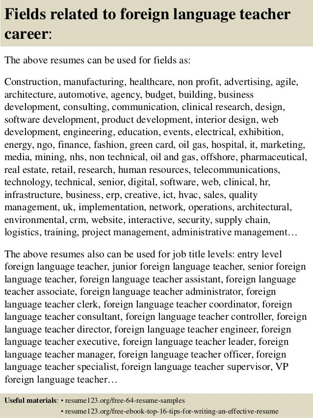 Top 8 foreign language teacher resume samples