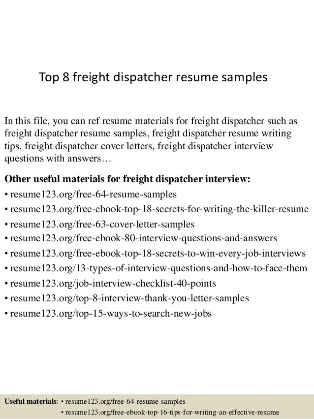 Top 8 Freight Dispatcher Resume Samples 1 638 ?cb=1437637930