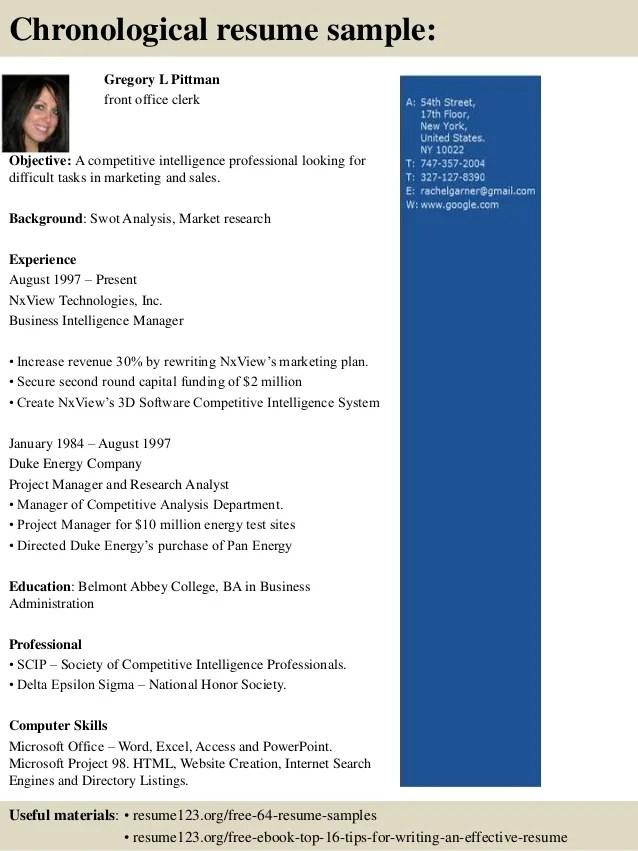 Top 8 Front Office Clerk Resume Samples