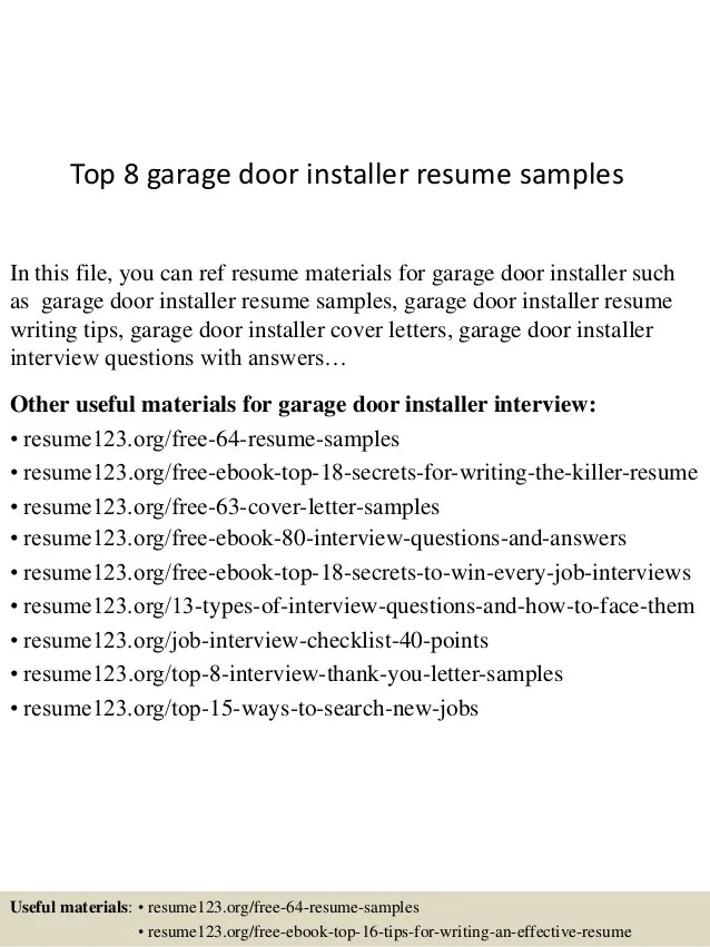 Top 8 Garage Door Installer Resume Samples