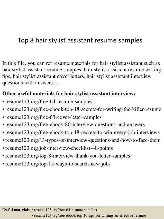 5 hair stylist assistant resume samples jobherojobhero