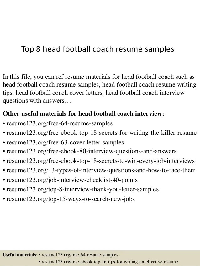 Football Coach Resume Example - Examples of Resumes