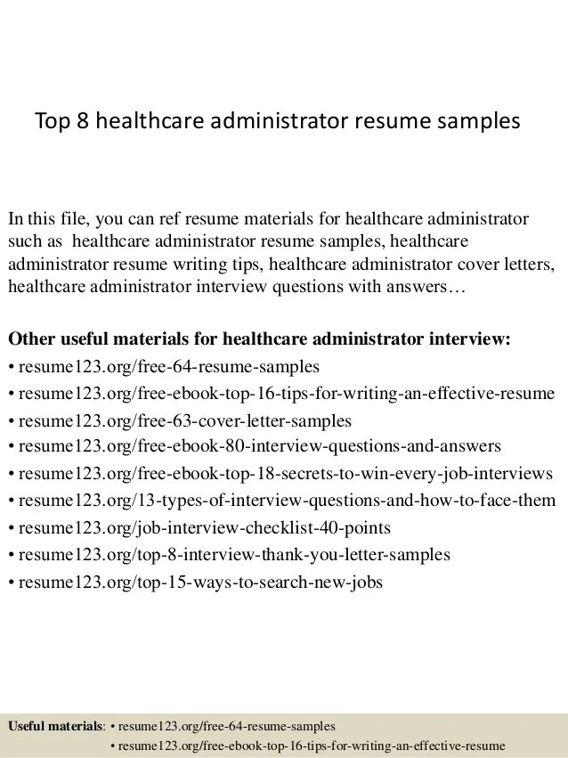Health Administration Resume Examples