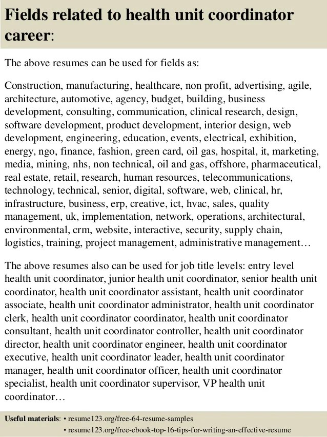 Top 8 health unit coordinator resume samples
