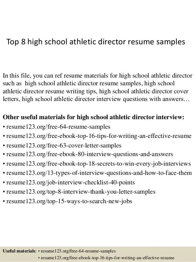 Top 8 High School Athletic Director Resume Samples
