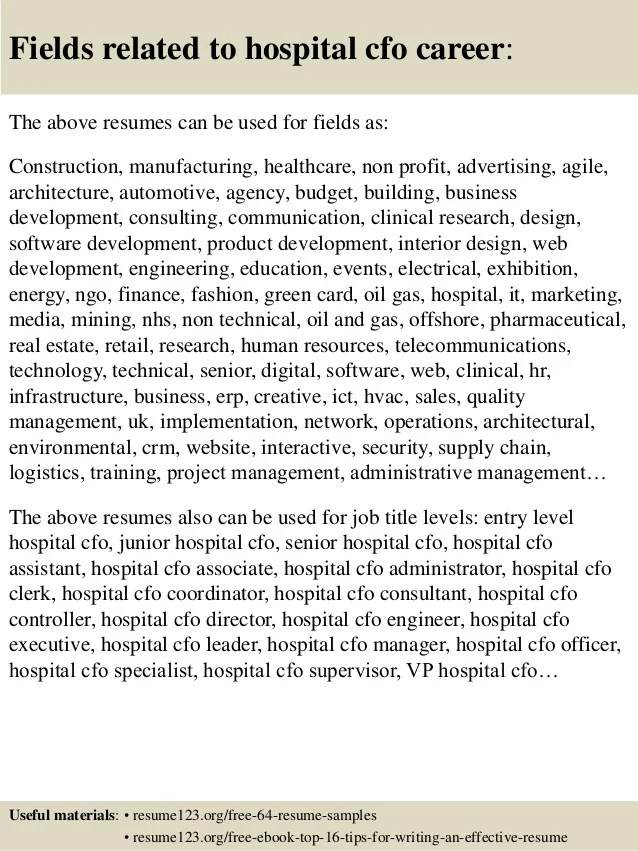 Top 8 Hospital Cfo Resume Samples