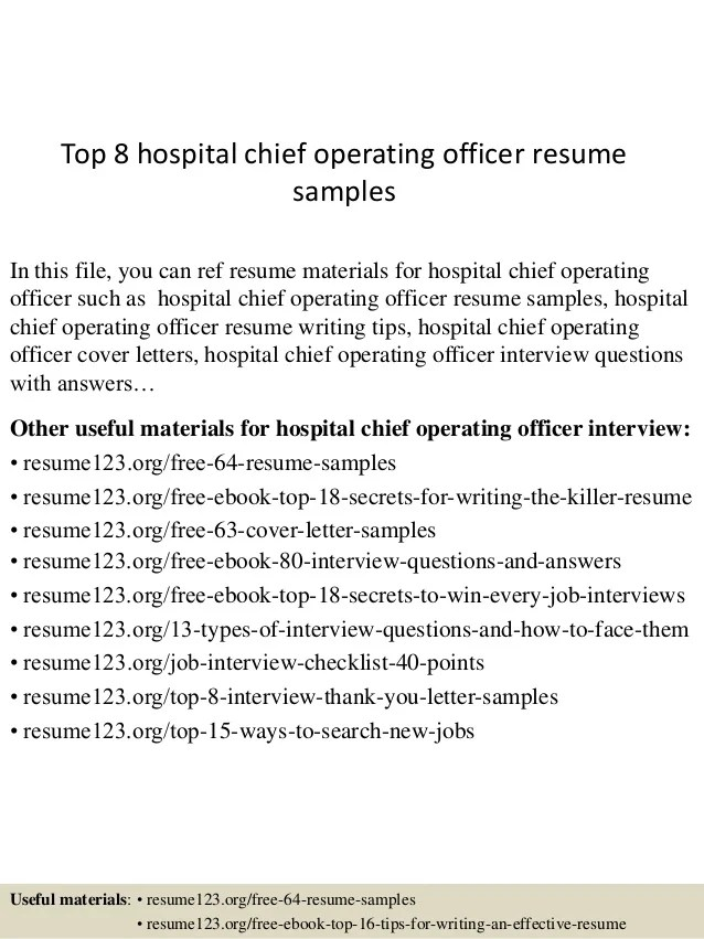 Top 8 Hospital Chief Operating Officer Resume Samples