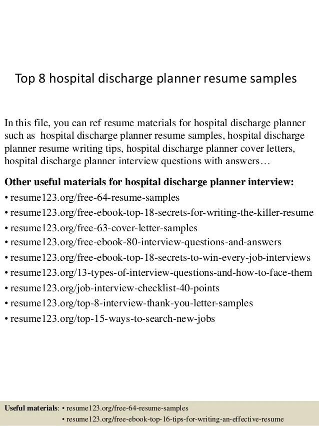 Top 8 hospital discharge planner resume samples
