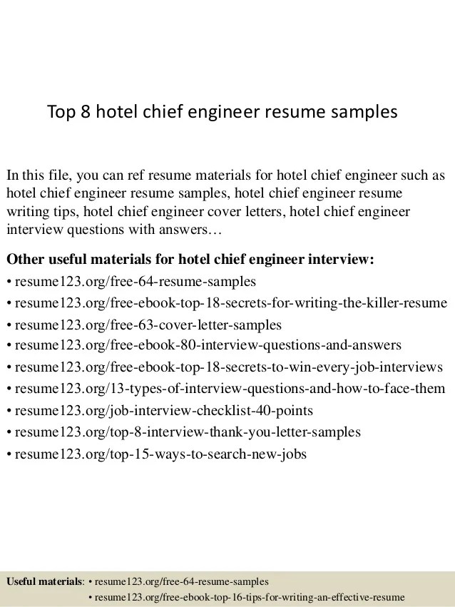 Top 8 hotel chief engineer resume samples