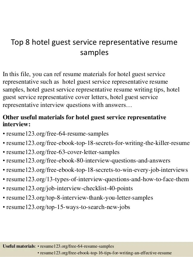 hotel guest service resume sample