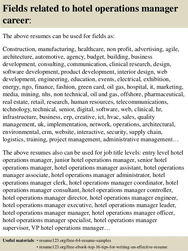 hotel operations resume samples