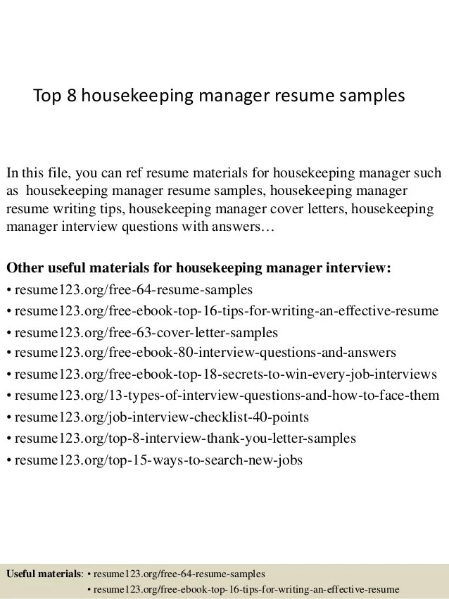 Housekeeper Resume Samples. Housekeeping Resume Entry Level