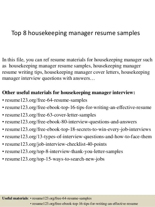 Housekeeper Resume Samples. Housekeeping Resume Entry Level