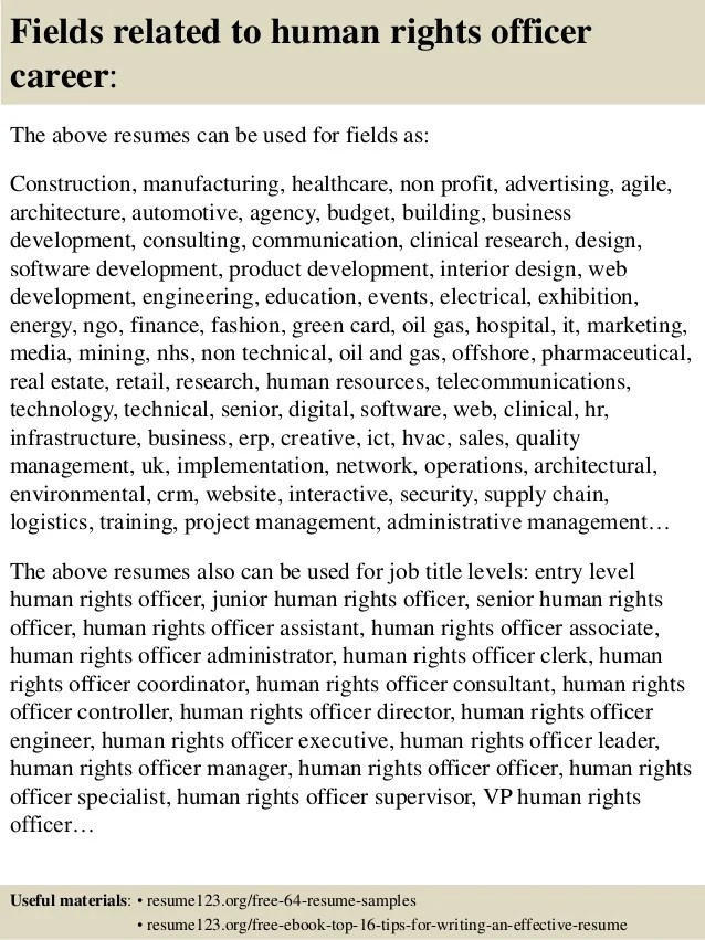 Top 8 human rights officer resume samples