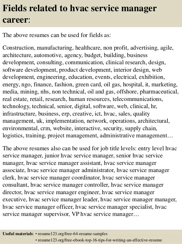 Top 8 Hvac Service Manager Resume Samples