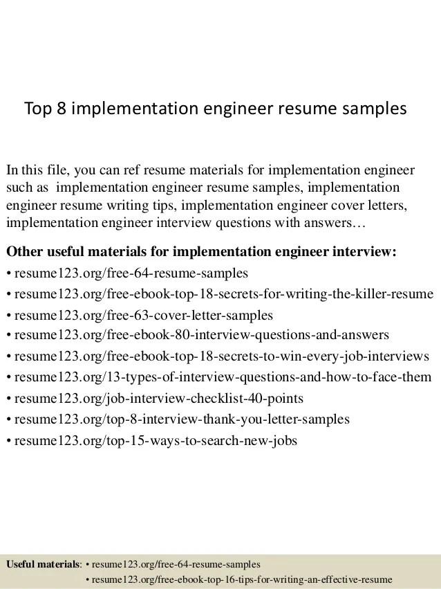 Implementation Engineer Cover Letter