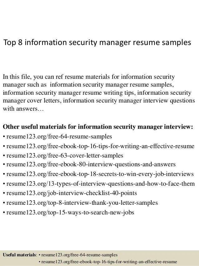 Top 8 Information Security Manager Resume Samples 1 638 ?cb=1428674479