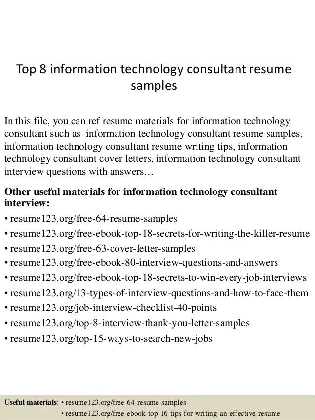 Top 8 Information Technology Consultant Resume Samples 1 638 ?cb=1431524836