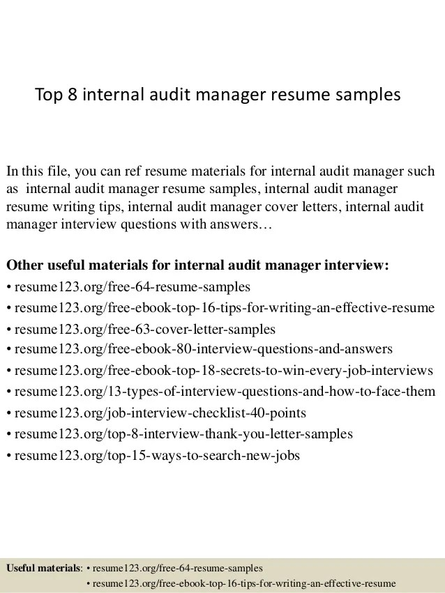 Top 8 internal audit manager resume samples