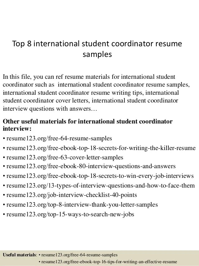 Top 8 International Student Coordinator Resume Samples