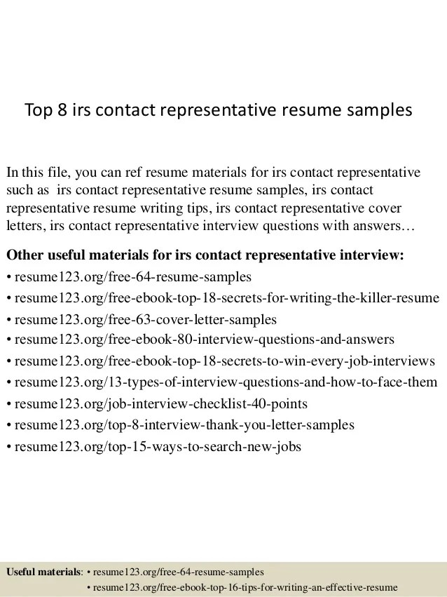Top 8 Irs Contact Representative Resume Samples