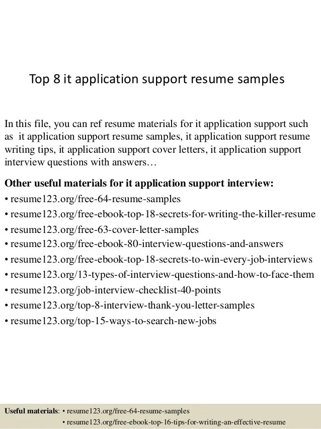 Application Support Resume Sample Template Application Analyst