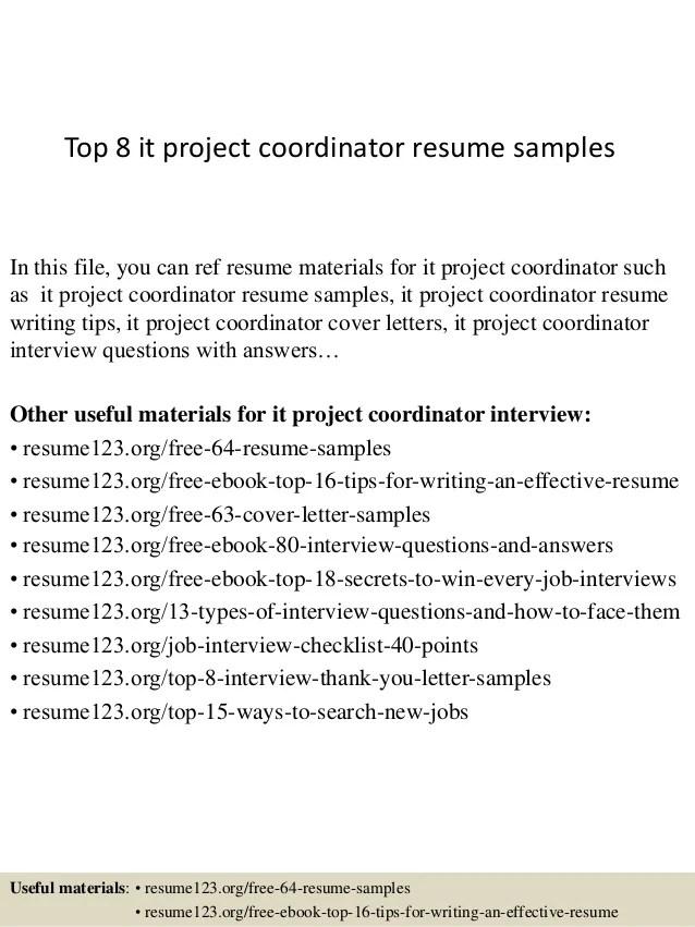 Top 8 It Project Coordinator Resume Samples 1 638 ?cb=1428369120