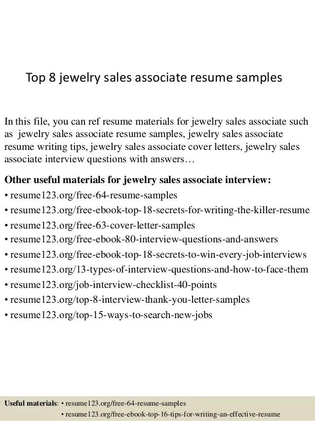 Jewelry Sales Resume Professional Jewelry Sales Associate