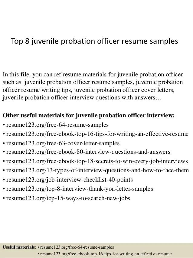 Top 8 juvenile probation officer resume samples