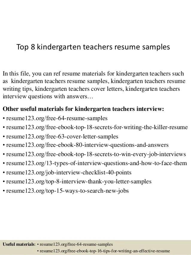 Top 8 Kindergarten Teachers Resume Samples 1 638 ?cb=1438223925