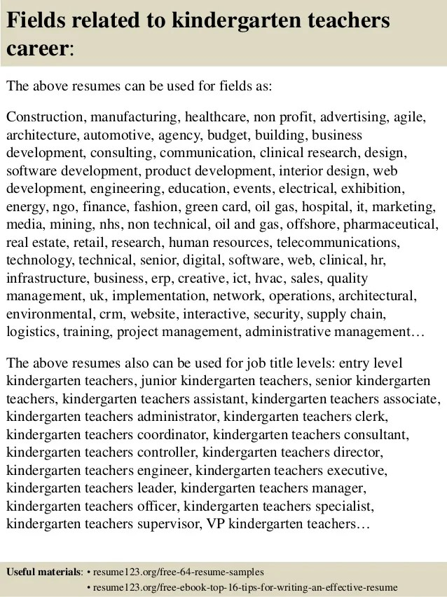 kindergarten teacher resume