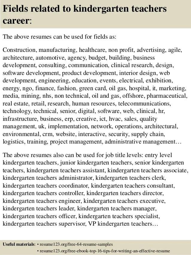 Resume Sample Resume For Kindergarten Teaching Job Kindergarten Teacher  Resume Examples Top 8 Teachers Samples  Kindergarten Teacher Resume