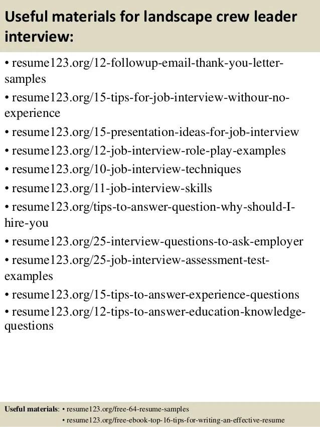 Top 8 landscape crew leader resume samples