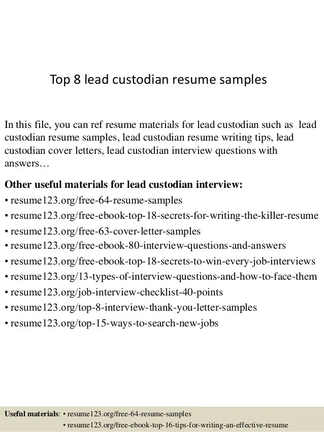 top 8 lead custodian resume samples 1 638 cb1433156785