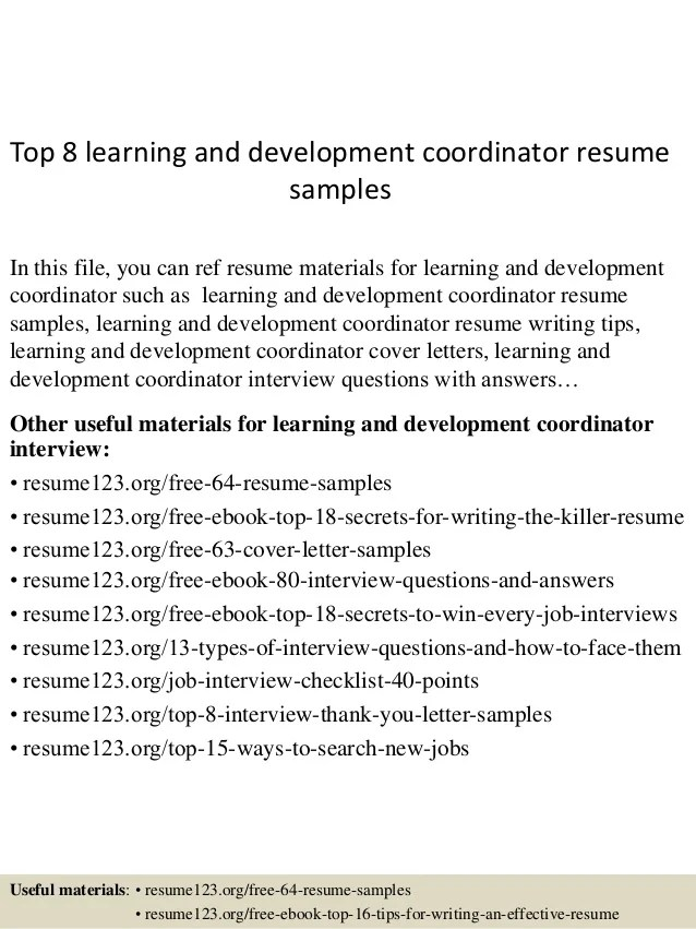 Top 8 Learning And Development Coordinator Resume Samples 1 638 ?cb=1431565471