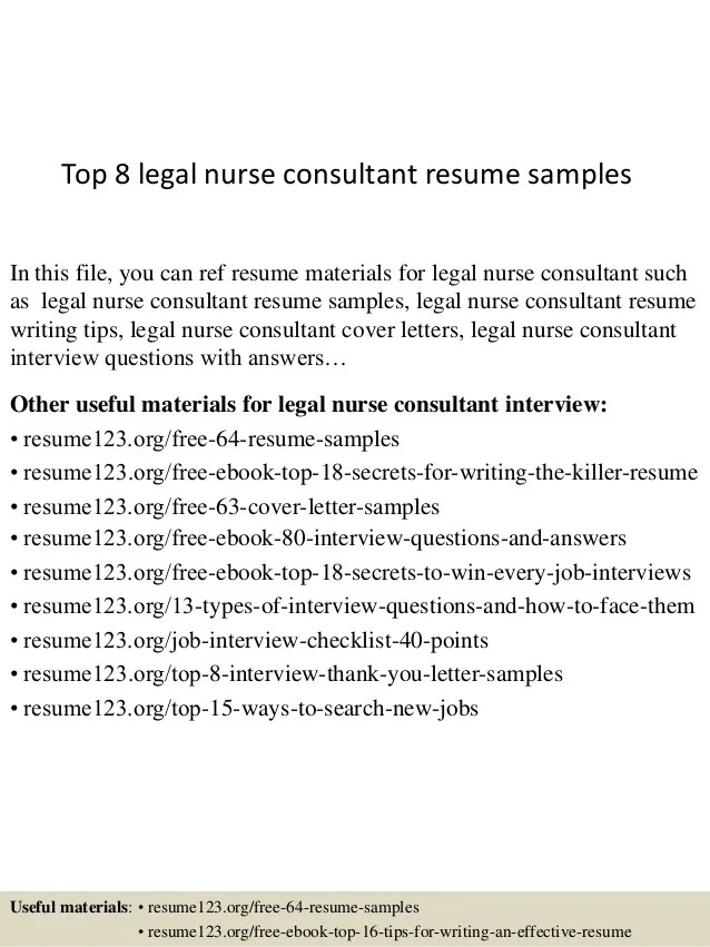 Top 8 Legal Nurse Consultant Resume Samples 1 638 ?cb=1431077847