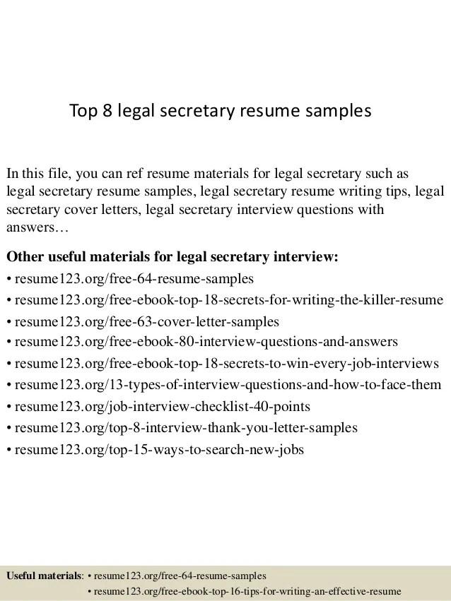Top 8 Legal Secretary Resume Samples 1 638 ?cb=1429947973