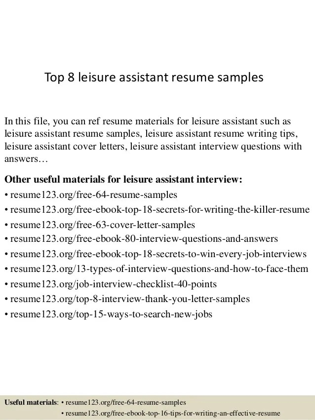 Top 8 leisure assistant resume samples