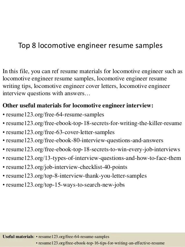 Top 8 Locomotive Engineer Resume Samples